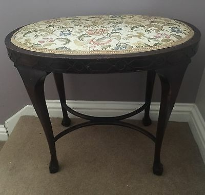Beautiful Late Victorian/Edwardian Oval Stool On Ball And Claw Feet
