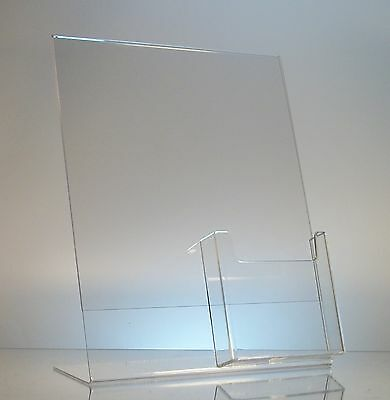 25 Acrylic 8-1/2x11 Slanted Sign Holders with 4x9 Tri-Fold Brochure Holder