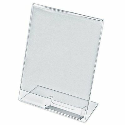 """25 Acrylic 8-1/2"""" x 11"""" Slanted Sign Holders with Attached Business Card Holder"""