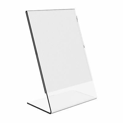 "Dazzling Displays 100 Acrylic 4"" x 6"" Slanted Sign Holders"