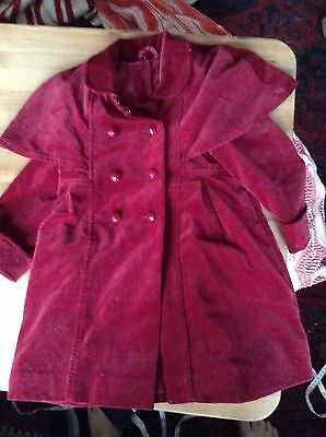 Childs Vintage Red Velvet Victorian Style Coat Cape Top Chest 28 Length 23