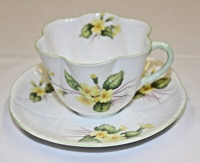 Vintage Shelley Dainty Primrose Yellow Teacup Tea Cup & Saucer Fine Bone China