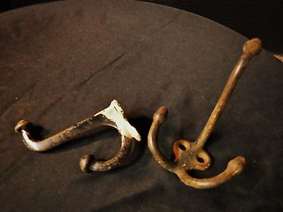 Two Antique Cast Iron VICTORIAN  HOOKS Coat Hat Key Utility