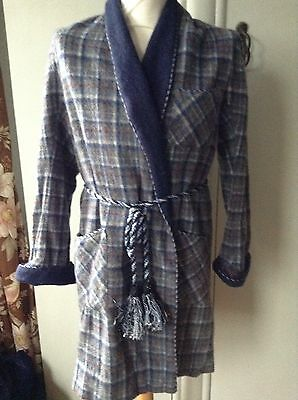 Vintage Wool Blend Check Plaid Dressing Gown Braided Large