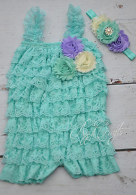 Aqua lace romper Necklace and headband set, Baby girls romper, Photo prop