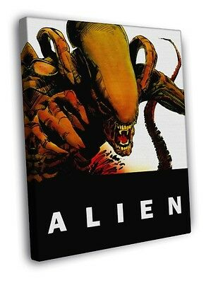 Alien Xenomorph Sci-Fi Movie Retro Art Artwork WALL FRAMED CANVAS PRINT