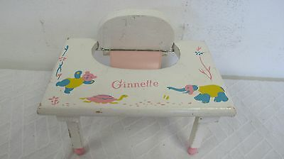 Vintage Ginnette Vogue Wood Wooden Doll Desk High Chair Seat