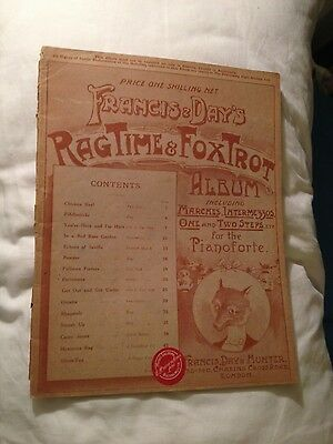 Vintage Francis & Day's Ragtime & Foxtrot Album for piano sheet music 1910
