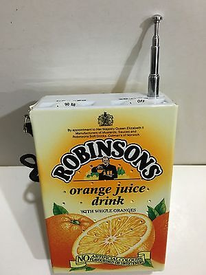 VINTAGE NOVELY RADIO ROBINSONS ORANGE DRINK FM BAND FROM 1970s-