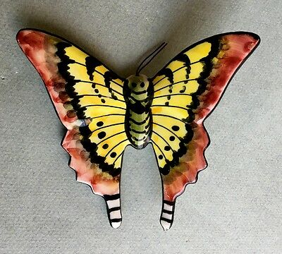 Pretty VINTAGE Cer AGUEDA POTTERY BUTTERFLY Portugese Portugal anfora