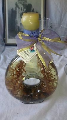 NEW Botanical Bath Oil with Flowers by Blooming in Lovely Glass Bottle