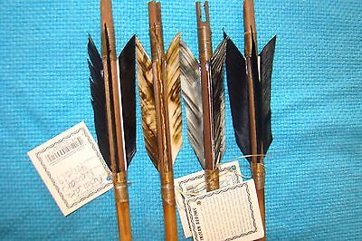 4 Handmade Navajo Arrows w/different or Same feathers & Stone chipped Arrowheads