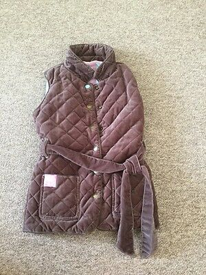 Joules Brown Quilted Velvet Velour Body Warmer Gillet Size:8 Years Girls