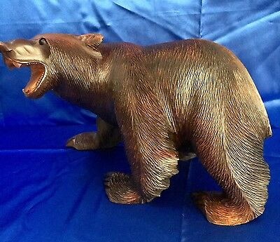 Large Antique Hand Carved Wood Black Forest Bear