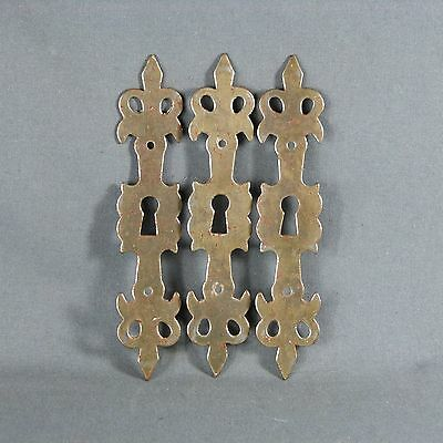 French Three Antique Brass Door Plate Cover with Key Hole Lily decor