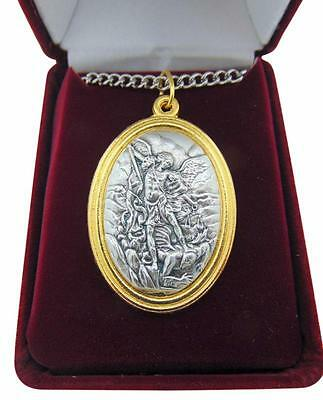 "St Michael Medal 1.5"" Saint Pendant with Steel Chain + Gift Boxed from Italy"