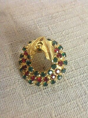 Free Shipping!! Christmas Pin Brooch Rhinestone Gold Tone Wreath