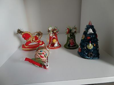 Lot of 5 Vintage Flocked Chenille Christmas Ornaments Bells Horse Soldier Tree