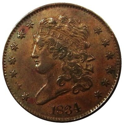 1834 United States Half Cent Classic Head Coin Au Condition