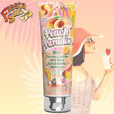 Fiesta Sun Peach Paradise Dark Tanning Accelerator Lotion + Free Sunbed Goggles
