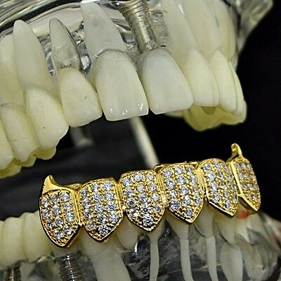 18k Gold Plated Fangs Bottom Grillz CZ High Quality Micro Pave Vampire Teeth