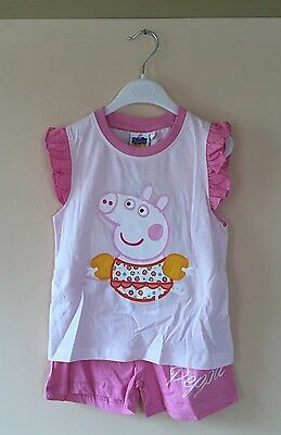Girls Peppa Pig Web 2pc Set  T-Shirt/Top & Shorts 4-5 Years - BNWT * Free P&P