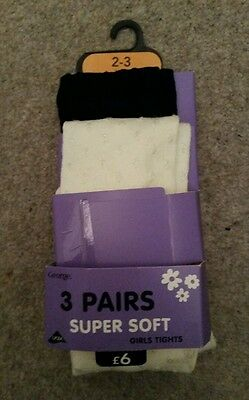 ☆☆ New George Asda Girls super soft tights age 2-3 years Set of 2 ☆☆