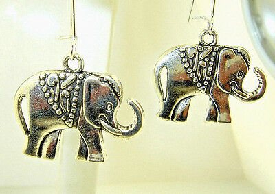 """New  Beautiful  ELEPHANT with trunk up  Silver-tone Dangle Earrings  1-5/8"""" long"""