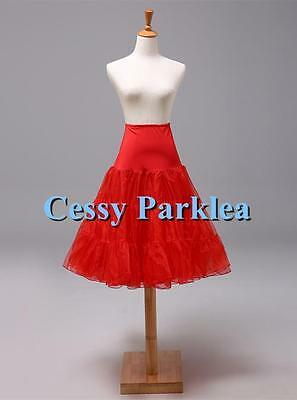 50s 65cm Rockabilly Long Petticoat Tulle Costume Underskirt Red Pink White Black