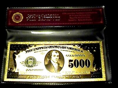 99.9% 24K Gold $5000 Bill Us Banknote In Protective Sleeve W Coa