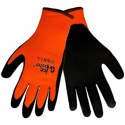 Global Glove 378INT Ice Gripster Rubber Winter Gloves Orange/Black NEW WARM