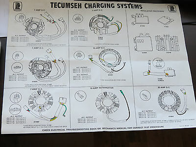 Tecumseh Folding Wall Digram Chart Ignition Points Systems Vintage Nos