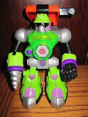 Fisher Price Rescue Heroes Robo Team Green Drill Back Hoe Figure 2003 RARE