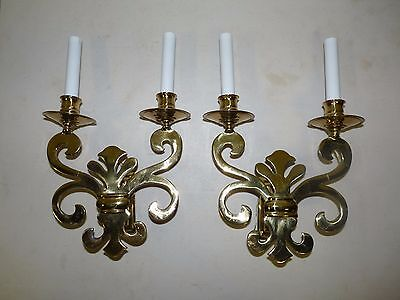 Pair Vintage Solid Brass English Regency Sconces 092608