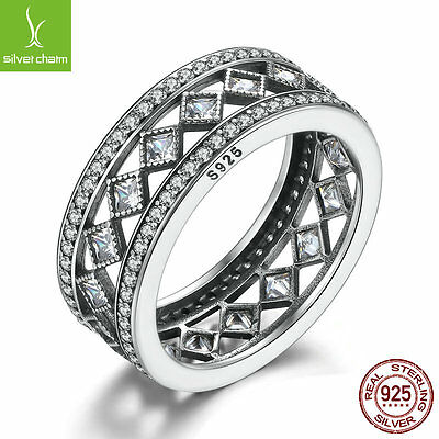 Authentic 925 Sterling Silver Vintage Fascination Finger Rings for Women Fashion