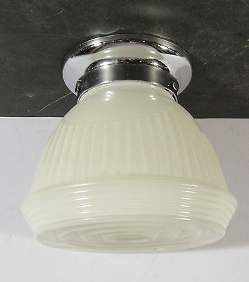 "Antique vtg Art Deco chrome 4"" fitter light fixture unusual white & clear shade"
