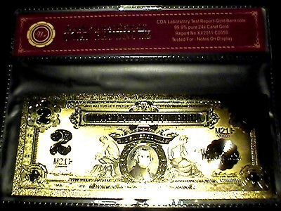 99.9% 24K Gold 1899 $2 Bill Us Banknote In Protective Sleeve W Coa