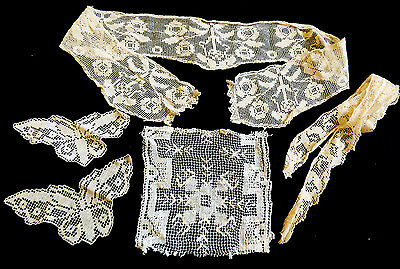 VTG antique Victorian hand made Trims Lace Edgings Patches 5 pieces ecru
