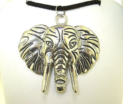 "New  Large Beautiful  3-D  ELEPHANT  head Silver-tone Pendant 18"" - 20"" Necklace"