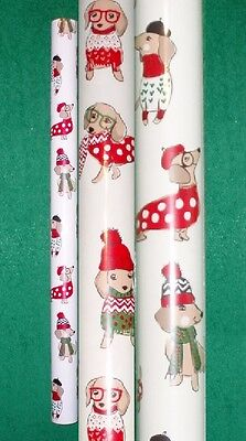 """30"""" x 144"""" Roll of Christmas Holiday Dachshund Dogs Wrapping Paper"""