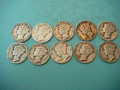 Lot of 10 Mercury Head Dimes very nice old coins 90% Silver  #9400