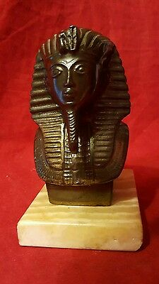 "Vintage Solid Metal (Bronze?) King Tut Bust from Cairo Egypt 5"" Tall"