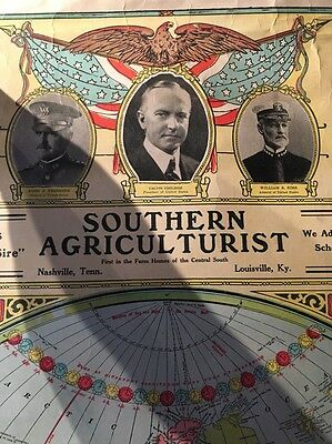 Antique Map Southern Agricultural Map With Calvin Coolidge