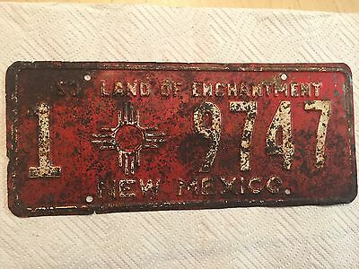 """1953 New Mexico Passenger  License Plate """" 1  9747 """" Nm 53  Ready To Be Restored"""