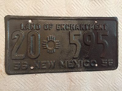 """1956 New Mexico License Plate """" 20 595 """" Nm 56 Taos County Ready To Be Restored"""