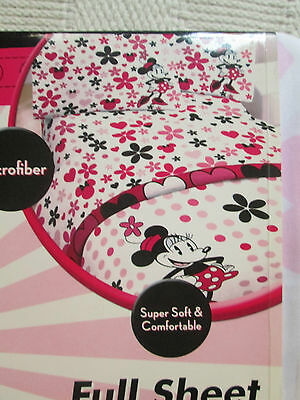 NEW  Minnie Mouse Daisy Dots Full-Double Bed Sheet Set DISNEY- Microfiber Soft