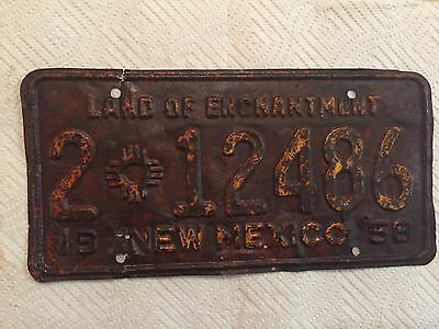 """1958 New Mexico Passenger  License Plate """" 2 12486 """" Nm 58 Ready To Be Restored"""
