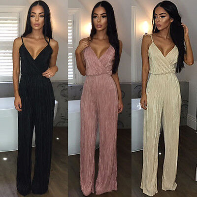 Sexy Women Backless Sleeveless Jumpsuit Bodysuit Rompers Long Playsuit Clubwear