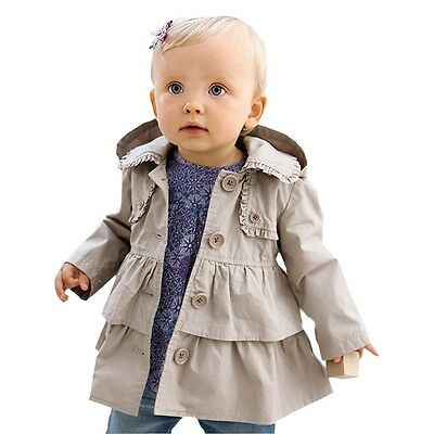 0-5Y Toddler Baby Girls Ruffled Long Sleeve Jacket Kids Hooded Coat Outerwear