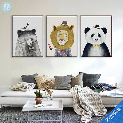 "Poster Painting Wall Canvas Art Animals Home Decor Cute Kids Modern 7""-20"" New"